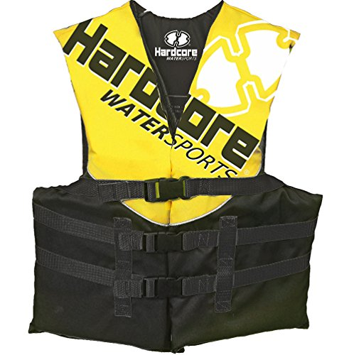 Hardcore Water Sports Youth Life Jacket Vest for 50-90 lbs. | US Coast Guard Approved Type III Yellow Buckle Type Iii Life Vest