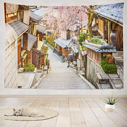 Summor Tapestry Wall Hanging Kyoto Japan Spring Street Asia Sakura Cityscape City Home Decorations Living Room Bedroom Dorm 80x60 Inches