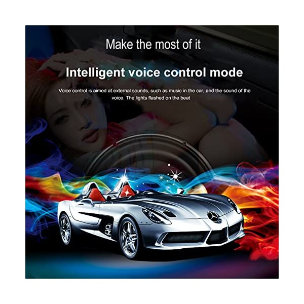 BRTLX LED Car Interior Lights Multicolor Underdash Atmosphere Decorative Strip Bar Lighting Kit With Sound Active Function Universal Fitment
