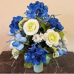 Blue Hydrangea Cemetery Arrangement, Cemetery Arrangement with Ranunculus, Flowers For Cemetery Vase 2