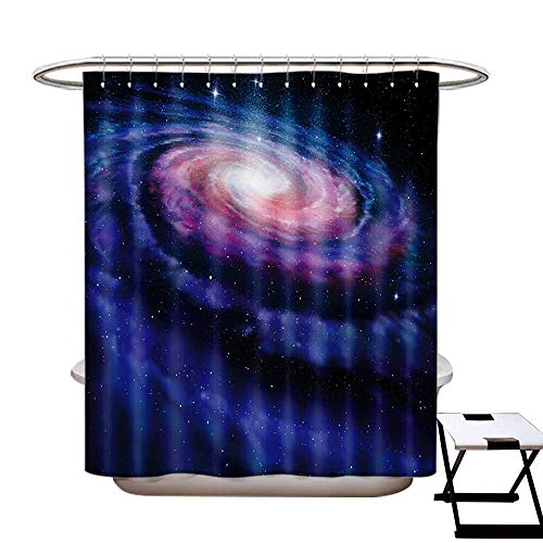 BlountDecor Galaxy Shower Curtains Fabric Extra Long Nebula in Outer Space Spiral Stardust Mist Cloud of Dust Planetarium Astronomy Art Bathroom Set with Hooks W72 x L96 Mauve Blue