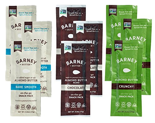 Barney Butter Almond Butter Flavor Variety Snack Pack (Pack of 9 with 3 Flavors) | Gluten Free | 0.6 Ounce | Bare Smooth, Chocolate, Crunchy