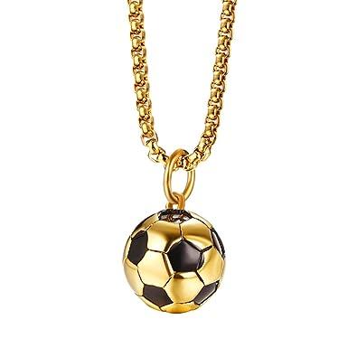 94bafca9cd6 Sharplace Pendentif Football Collier Homme Femme Acier avec Chaîne ...