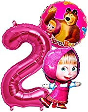 Mascha en de beer-set, folieballon + reuzengetal, 1-8 getal, kinderverjaardag, mascha, mix, folie, ballon, kinderfeest, ballon, kinderen, party, beer, ballon, decoratie (nummer 2)