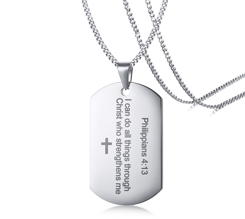 Philippians 4:13 Bible Verse Engraved Stainless Steel Dogtag Pendant Necklace for Men,Christian Religous Jewelry,Silver