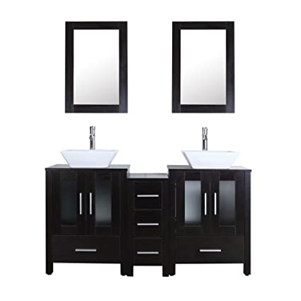 bathenum 60 bathroom vanity double sink unit black mdf wood cabinet rh amazon com bathroom vanity double sink 60 inches 60 bathroom vanity double sink home depot