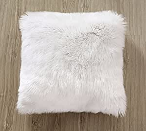 OJIA Deluxe Home Decorative Super Soft Plush Mongolian Faux Fur Throw Pillow Cover Cushion Case (18 x 18 Inch, White)