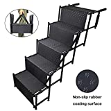 YEPHHO 5 Steps Upgraded Folding Pet Stairs Ramp Lightweight Portable Dog Cat Ladder with Waterproof Surface Great for Cars Trucks SUVs(Black)