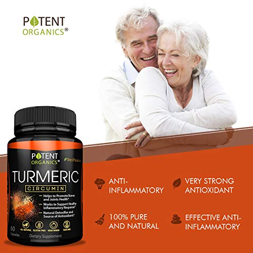 Turmeric Curcumin with BioPerine – 600 mg Organic Capsules with 95% Standardized Curcuminoids – Works on Pain Relief & Joint Support - Potent, Non-GMO & Gluten-Free – Made in USA