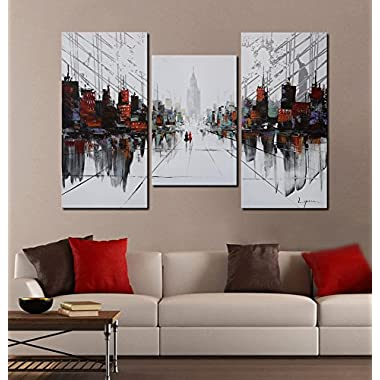 ARTLAND Modern 100% Hand Painted Landscape Oil Painting on Canvas After the Rain Walk 3-Piece Gallery-Wrapped Framed Wall Art Ready to Hang for Living Room for Wall Decor Home Decoration 32x48inches