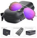 LUENX Aviator Sunglasses Womens Polarized Mirror Purple Lens Silver Metal Frame Large 60mm