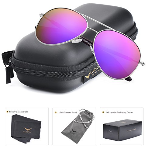 Image of LUENX Aviator Sunglasses Womens Polarized Mirror Purple Lens Silver Metal Frame Large 60mm