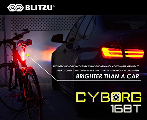 BLITZU Ultra Bright Bike Light Cyborg 168T USB Rechargeable Bicycle Tail Light. Red High Intensity Rear LED Accessories Fits On Any Road Bikes, Helmets. Easy to Install for Cycling Safety Flashlight by BLITZU (Image #2)