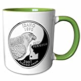 3dRose Sandy Mertens Idaho - Quarter of Idaho (PD-US) - 11oz Two-Tone Green Mug (mug_55413_7)