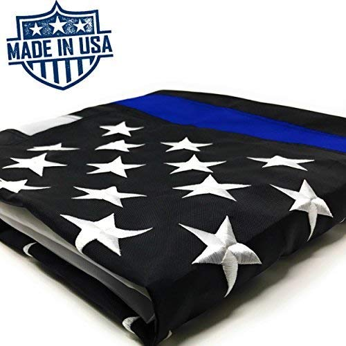 (Thin Blue Line Flag: 100% US Made 3x5 ft with Embroidered Stars - Sewn Stripes - Brass Grommets - UV Protection - Black White and Blue American Police Flag Honoring Law Enforcement Officers)