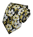 Men Fashionable Vivid Floral Gold Black Grey Ties Interview Trendy Suit Neckties