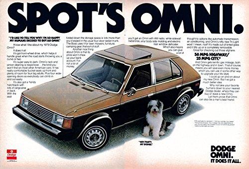 1979 Dodge Omni Hatchback Original 2 Page Magazine Ad-Chrysler-Dogs Point of View