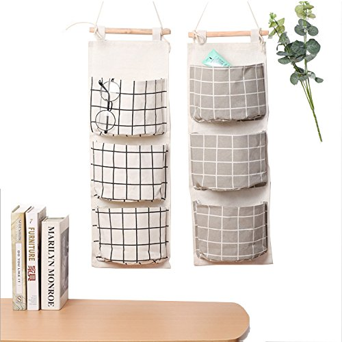 MF2FLAY Over the Door Closet Organizer, 2 Packs Wall Hanging Storage Bags with 3 Pockets for Bedroom & Bathroom by MF2FLAY