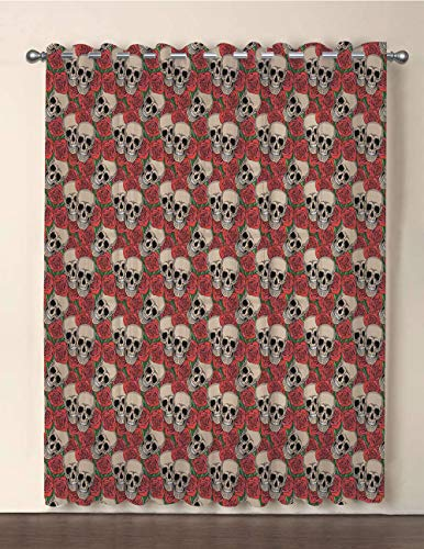 iPrint One Panel Extra Wide Sheer Voile Patio Door Curtain,Rose,Graphic Skulls and Red Rose Blossoms Halloween Inspired Retro Gothic Pattern,Vermilion Tan Green,for Sliding Doors(108