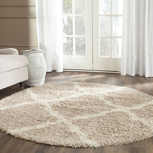 Safavieh Dallas Shag Collection SGD257D Beige and Ivory Round Area Rug (6' -