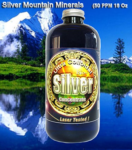 Liquid Silver Solution, 16 Oz., 50 PPM, Silver Mountain Minerals, (Medical Purity Silver, most Bioavailable colloidally suspended nano particles).