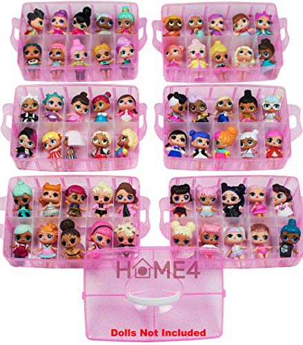 (HOME4 Stackable Storage Container - Toy Organizer Case - 6 Layers 60 Adjustable Compartments - Perfect for Small Dolls and Toys - Dolls Not Included - Pink Glitter)