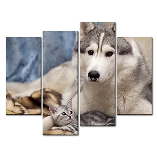 YEHO Art Gallery Painting Siberian Husky With A Kitten Print On Canvas The Picture Animal Pictures