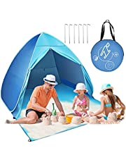 Easy Pop Up Beach Tent 2-3 Person Sun Shelter Lightweight Family Beach Shade UPF 50+ Anti UV Portable Beach Umbrella Automatic Instant Sunshade Cabana Canopy with Carry Bag for Baby Adults Family (Blue)