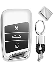 Full Protection Key Shell TPU Cover for VW Volkswagen Tiguan MK2 Passat B7 B8 CC 2017 2018 Skoda Superb A7 Keyless Entry Cover Soft Holder Case with Keychain Silver