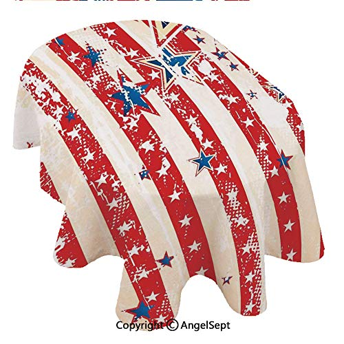 100% Polyester Floral Print Tablecloth Waterproof,American Flag USA Naional SAR Figures Horizonal Sripes Pride Grunge Design Imager 60x120inch,Decorative Table Top Cover for Kitchen Dining Room and