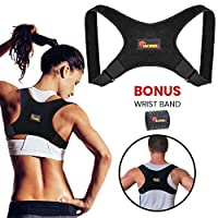 Premium Back Posture Corrector for Men and Women + Free Wrist Band by Duramax1- Comfortable Durable Clavicle Shoulder Strap   Upper Back Brace   Straighten Body Position & Boost Confidence