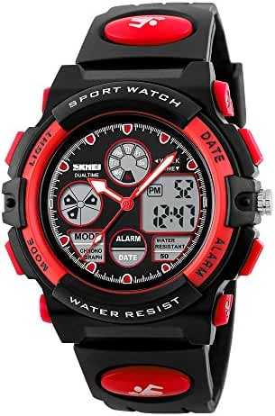 Children Students LED Pointer Display Waterproof Sports Wrist Watch Red
