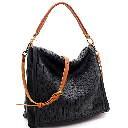Perforated Two-Tone Rustic 2-Way Flap Satchel Purse