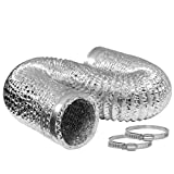 VIVOHOME 6 Inch 25 Feet Aluminum Flexible Dryer Vent Hose with 2 Clamps for HVAC Ventilation