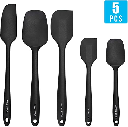 Baking /& Mixing Stainless Steel Core Spatulas Black Silicone Spatula 3-Piece Set High Heat Resistant Non-Stick Silicone Spatulas with Reinforced Stainless Steel Core for Cooking