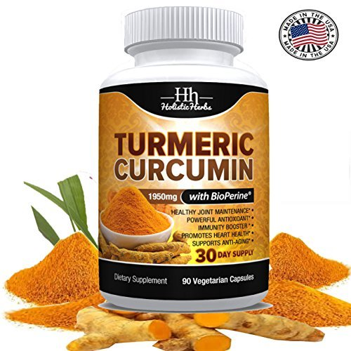 Holistic Herbs Turmeric Curcumin 1950mg with Bioperine 15mg and 95% Curcuminoids - 90 Capsules