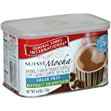 General Foods International Sugar Free Naturally Decaffeinated Suisse Mocha Coffee Drink Mix, 4.4-Ounce Tins (Pack of 6)