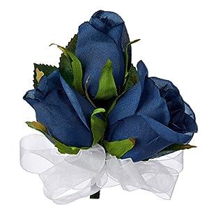 Navy Blue Silk Rose Corsage - Wedding Corsage Prom 94