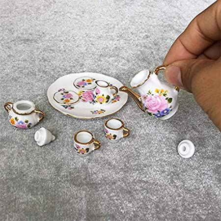 8Pcs 1:12 Dollhouse Miniature Porcelain Tea Cup set Dollhouse Kitchen TablewareJ