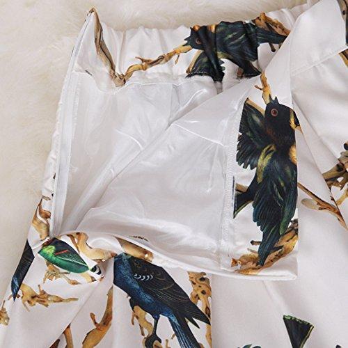 34 Fleur Longueur Imprim Tangda lgant Fermeture Taille 38 Rtro Elastique Polyster clair Plisse 60cm Haut Forale Vintage Blanc Multicolor A Line Longue fran 36 Taille aise Optique Oiseau Jupe 32 qq4wA6WO