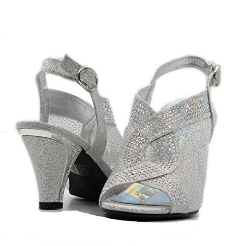 Stylish & Comfort - Bella Hanna Women's Rhinestone Glitter Peep Toe High Chunky Heel Party/Wedding/Performance Shoes (11, Silver)