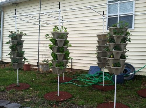 NEW (20) Individual Stacking Hydroponic 13'' Pots - Build Your Own Vertical Container Growing System - Grow Vegetables Herbs Strawberries Greens - Mr Stacky Food Safe Plastic Stackable Planters by Mr. Stacky (Image #5)