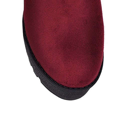 VogueZone009 Damen Ziehen auf Rund Zehe Hoher Absatz Blend-Materialien Mitte-Spitze Stiefel Rot