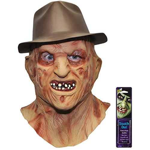 Bundle: 2 Items - Freddy Krueger Mask Hat and Free Pack of Makeup (Scary Freddy Krueger Costume)