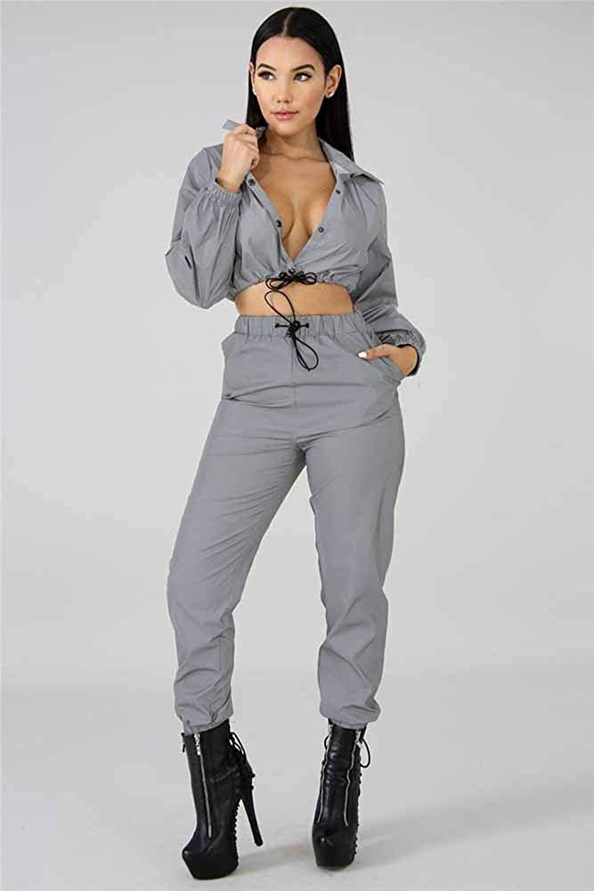 Vestito Riflettente del Cappotto Hibasing Vestiti Luminosi della Roccia di Modo delle Donne dei Pantaloni del Cardigan di Modo del Locale Notturno Partito