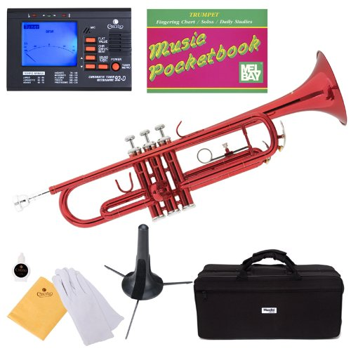 B002474FLW Mendini MTT-RL Red Lacquer Brass Bb Trumpet + Tuner, Case, Stand, Mouthpiece, Pocketbook & More 51EzQpoeDmL