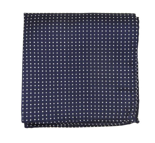 The Tie Bar 100% Woven Silk Navy Pindot Patterned Pocket Square
