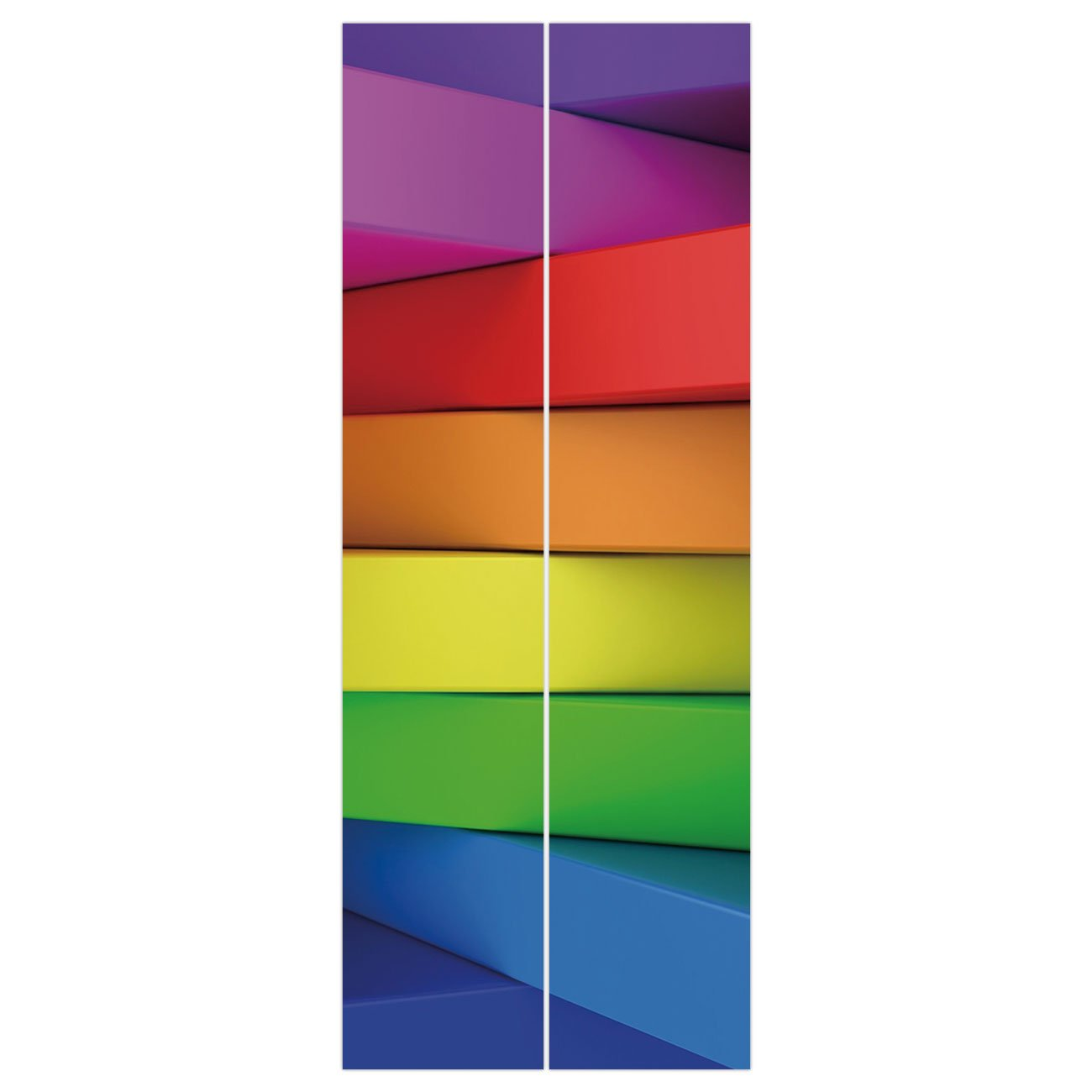 3d Door Wall Mural Wallpaper Stickers [ Rainbow,3D Stacked Panels with Colors of a Rainbow Computer Generated Artwork Vibrant Tones,Multicolor ] Mural Door Wall Stickers Wallpaper Mural DIY Home Decor