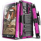 LG K8 V (Verizon) Case, Evocel [Generation Series] Belt Clip Holster, Kickstand, HD Screen Protector, Dual Layer for LG K8V (VS500), Pink (EVO-LGVS500-AB205)