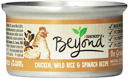 Purina Beyond Natural Canned Cat Food, Chicken, Wild Rice and Spinach Recipe, 3-Ounce Can, Pack of 12
